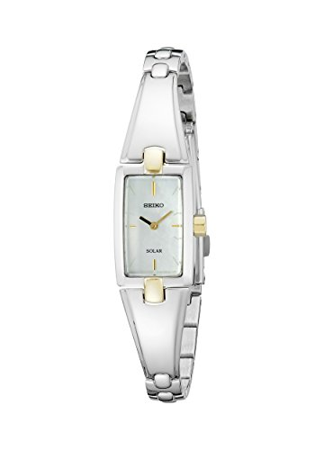 Seiko Women's SUP218 Stainless Steel Watch with Baguette Bangle Bracelet