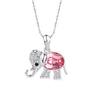 Sliver Tone Pink Swarovski Element Crystal the Elephant Design Necklace for Girlfriend Gift