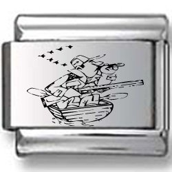 Hunter in Boat Making Duck Calls Laser Italian Charm
