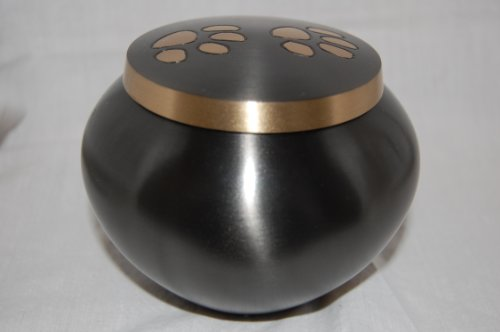 Pet Cremation Memorial Urn- Paw Prints Solid Brass