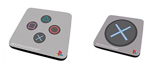 Set Di 2 Sottobicchieri: Playstation - Controller + X (9x9 cm)