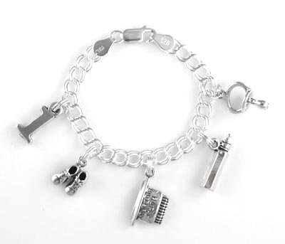 Sterling Silver Baby's First (1st) Birthday Charm Bracelet with Charms 5
