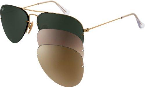 d3f51f5dd9d ... sale authentic ray ban sunglasses aviator flip out tech rb3460 001 71  arista gold framegreygreen brown