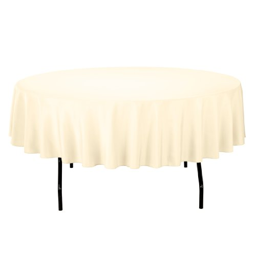 Linentablecloth Round Polyester Tablecloth, 90-Inch, Butter front-213142