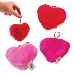 Lot Of 12 Assorted Color Plush Hanging Heart Toys by US Toy