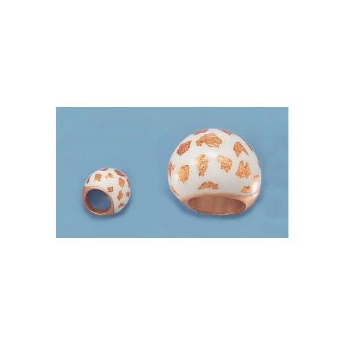Matte 14K Rose Gold Plated Sterling Ring, White Enamel, Copper Foil Flakes, 13/16 inch, Sizes 7 9