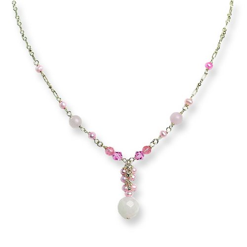 Silver Rose/Cherry Quartz/Pink Crystal/FW Cultured Pearl Necklace. 16in long.