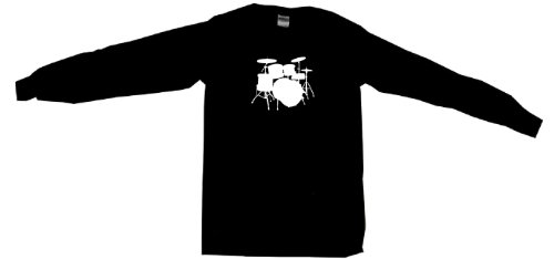 Drum Set Logo Drumset Women'S Tee Shirt Large-Black Babydoll Long Sleeve