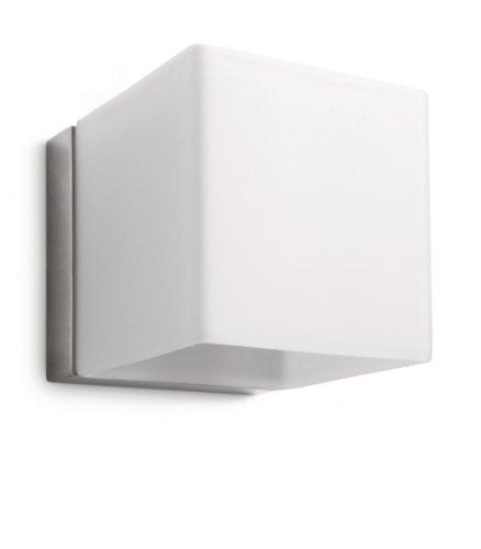 Philips Homroo Lampada da Parete Nickel, Cubo in Vetro Satinato, Lampadina Inclusa