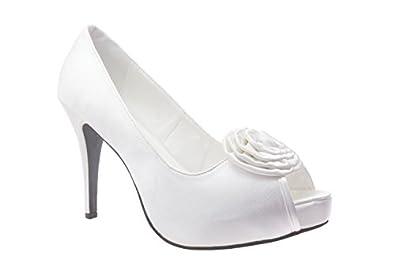 Escarpins habillés en satin Blanc, plateforme intérieure et talon de 11 cm.32