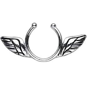 Clip on nipple ring with angel wings jewelry for Angel wings nipple piercing jewelry