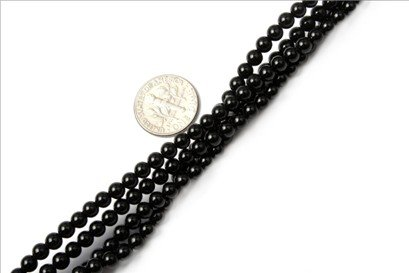 4mm round gemstone black agate beads strand 15