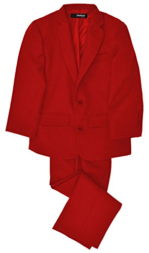 G218 Boys 2 Piece Suit Set Toddler To Teen (2/2T, Red) front-971989