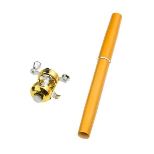 Mini Travel Saltwater Fishing Drum Wheel Pen Shape Rod Pole Reel Combos