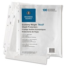 Business Source 74447 Sheet Protectors,Top Load,3HP,2.0mil,11 in.x8-1/2 in.,100/PK,Semi-Clear