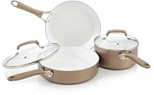 WearEver C944S564 Pure Living Nonstick Scratch Resistant Ceramic Coating PTFE-Free and PFOA-Free Dishwasher Safe 5-Piece Cookware Set, Champagne Gold