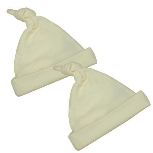 Premature Early Baby Clothes Pack of 2 Knotted Hats 1.5lb, 3.5lb, 5.5lb,7.5lb-10lb Ivory