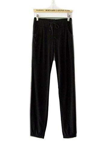 Hii-Yo Women Soft Modal Loose Comfortable Home Relaxed Sports Running Yoga Pants Black
