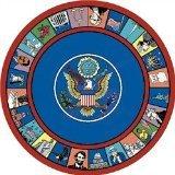 "Joy Carpets Kid Essentials Early Childhood Round Symbols of America Rug, Multicolored, 7'7"""