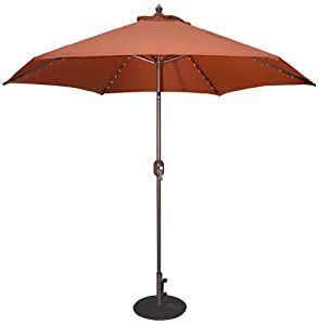 TropiShade TropiLight LED 9-Feet Bronze Aluminum Market Umbrella from Galtech