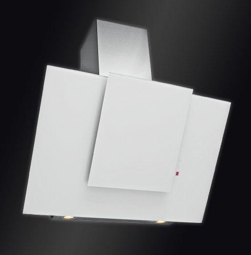 Baumann Design kopffrei Dunstabzugshaube, Modell Norma weiss, 80 cm breit. 850 m3/h Abluftleistung, Randabsaugung mit innenliegendem Metallfettfilter, 4 Stufen Touch Control Steuerung, kopffreies Design, weisses Satinglas