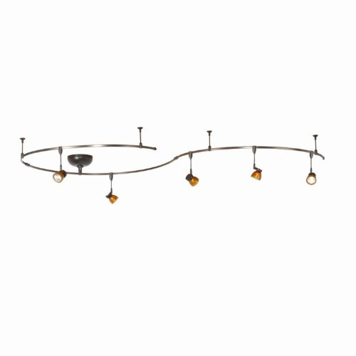 B00186FS3Y WAC Lighting LM-K8111-BZ/AS Solorail 5-Light Adjustable Head Kit, Bronze with Amber Glass