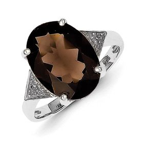 Genuine IceCarats Designer Jewelry Gift Sterling Silver Rhodium Pear Smokey Quartz & Diamond Ring Size 7.00
