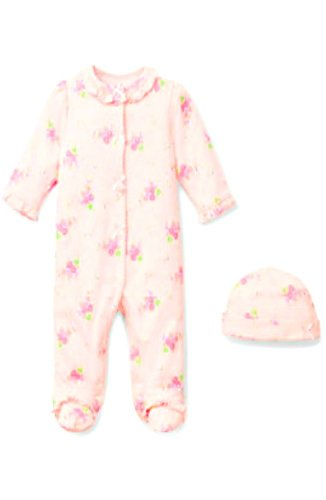 Little Me Newborn Baby Girls Footie Pajama Sleeper (6 Months, Floral Spray-Pink Floral)