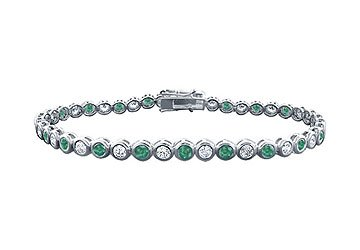 Emerald and Diamond Tennis Bracelet Platinum - 3.00 CT TGW