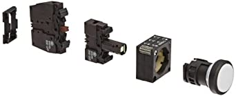 Siemens 3SB3251-0AA61 Pushbutton Unit, Flat Button, Momentary Operation, Illuminated, 110VAC/VDC Integrated LED, 1 NO + 1 NC Contact Type, White