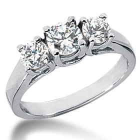 VS 1.00ct Diamond Ring 3 Three Stone Past Present 