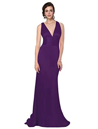 HE09008PP06, Purple, 4US, Ever Pretty Trailing V-neck Ruffles Cross Back Empire Waist Bridesmaid Dress 09008