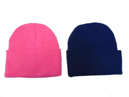 Black Friday/ Cyber Monday Deal! 2 Pack Knit Beanies / Hot Pink & Royal Blue / Great Price!