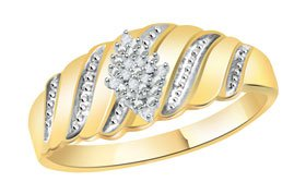 Natural Diamond Cluster Wide Band Ring 10K Yellow Gold