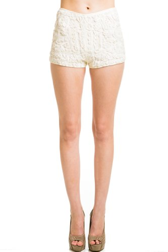 Bead Embroidered Shorts in Ivory