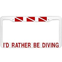 New Scuba Diving License Plate Frame - I'd Rather Be Diving