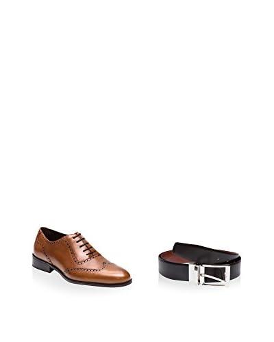 Ortiz & Reed Zapatos Oxford + Cinturón Piel SET-ZCP32-CCR3 Marrón Claro
