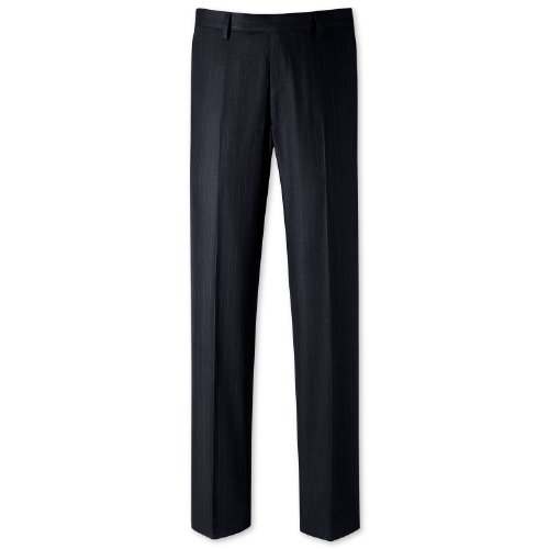 Charles Tyrwhitt Navy stripe classic fit suit trouser (30W x 38L Unfinished)