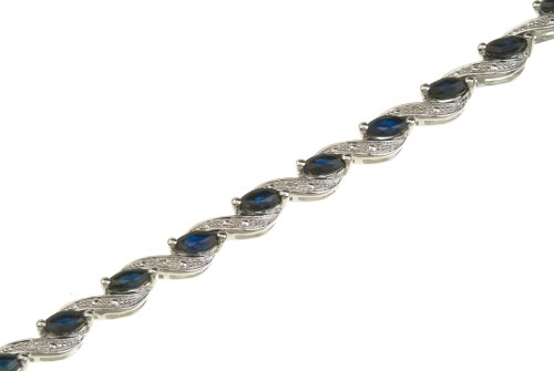 Ladies' Diamond and Sapphire Bracelet, 9ct White Gold, Prong Setting 0.05 Carat Diamond Weight, Model PBC2520
