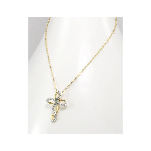 Jewelry Locker Vermeil and Topaz Cross Pendant Necklace