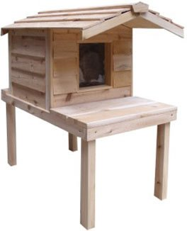 Insulated Cedar Outdoor Cat House with Lounging Deck and Extended Roof