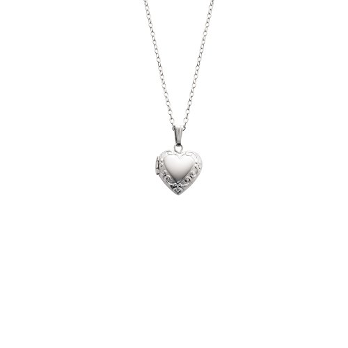 Sterling Silver Children's Embossed Heart Locket Pendant Necklace , 15