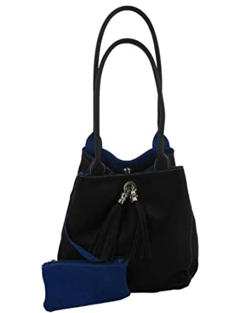 Giglio Soft Italian Leather and Suede Handmade Reversible Shoulder Bag Black and Blue