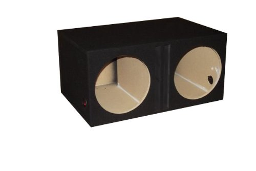 "R/T - Black Dual 12"" Slot Vented Sub Bass Hatchback Speaker Box"
