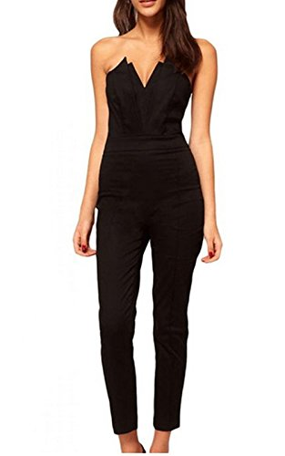 nuoreel women 39 s jumpsuit with pleated bust origami detail large size black apparel accessories. Black Bedroom Furniture Sets. Home Design Ideas