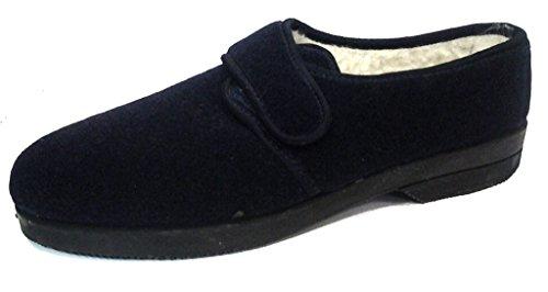 DAVEMA ciabatte pantofole invernali da uomo con velcro mod. 57 blu con strappo (43)