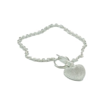 925 Silver Tiffany Style Bracelet, Frosted Heart Charm & T-Bar