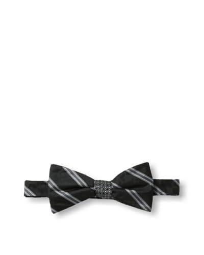 Ben Sherman Men's Reversible Pre-Tied Neat Stripe Bow Tie, Black