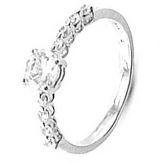 Sterling Silver Solitaire Engagement Ring With Round Cubic Zirconia In Four Prong Setting With Smaller Side stones