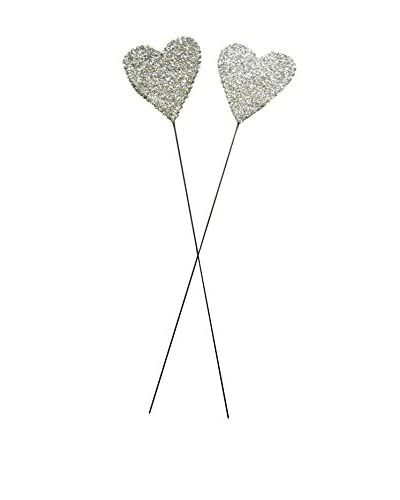 Wendy Addison-Tinsel Trading Co. 2 Glass Glitter Heart Wands, Silver